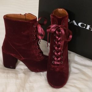 Velvet Wine colored Boots NIB Coach size 8.5